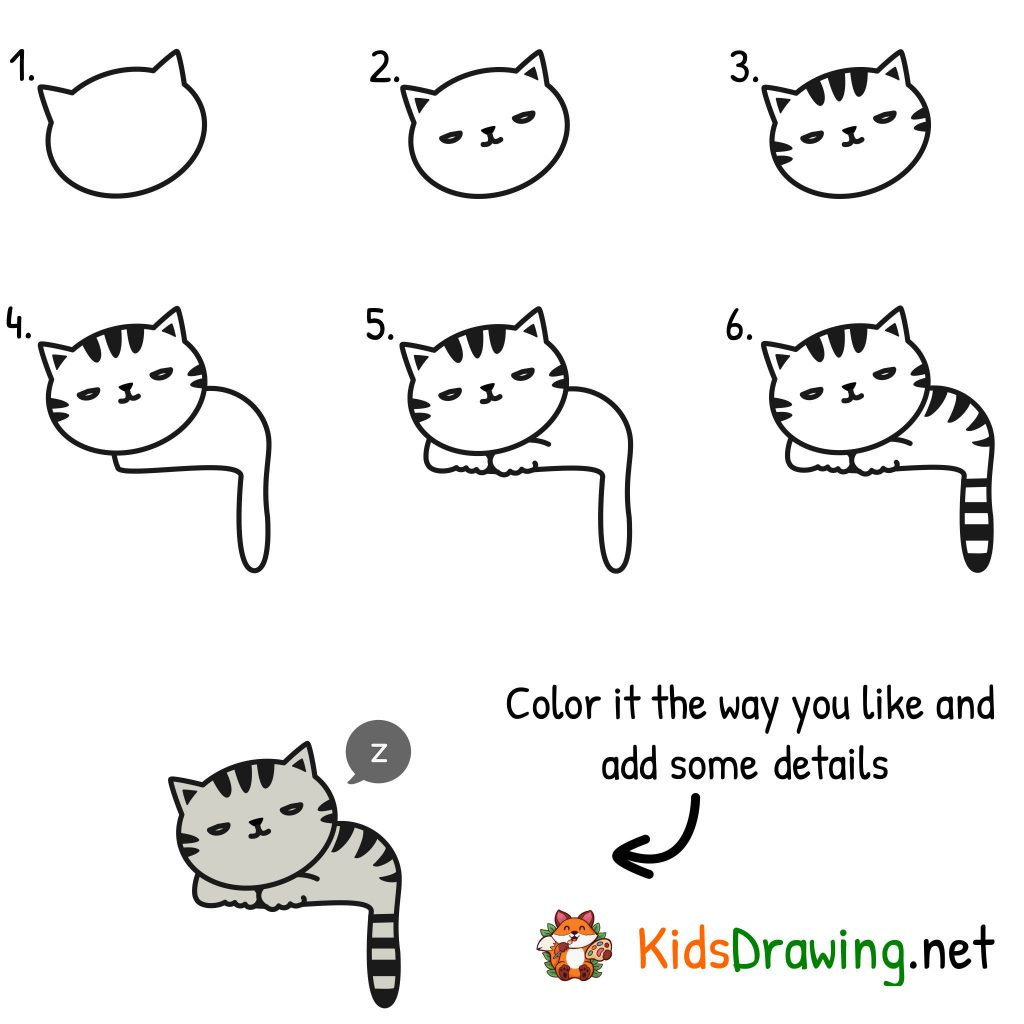 Cat drawing for kids