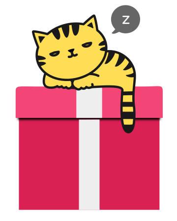 Cat sleeping on gift box