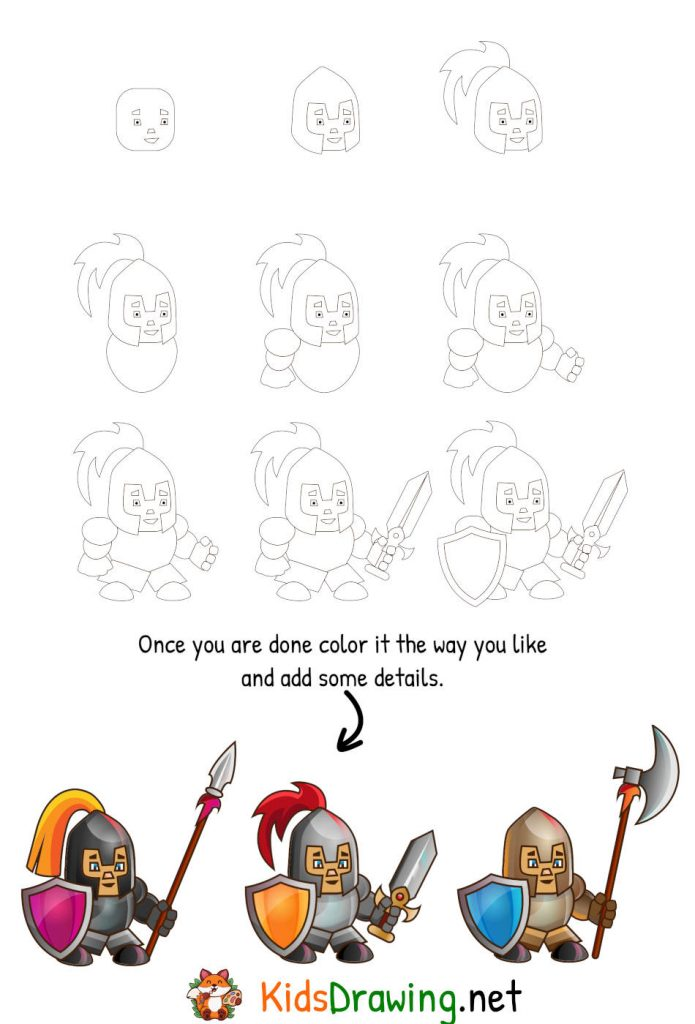how to draw a knight step by step