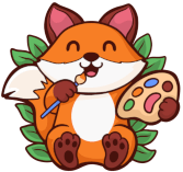 Logo - cute fox holding coloring palette